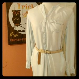 Button-up T-shirt Dress w/ Belt Loops & Pockets